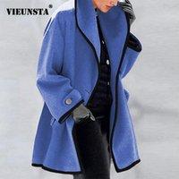 النساء الصوف يمزج 2021 الخريف الشتاء مقنع معطف المرأة خمر زر واحد الصلبة سترة طويلة سترة فام كم جيب أبلى 5xl