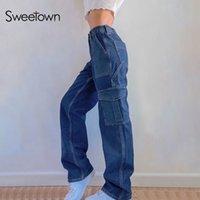 Sweetown Inglaterra formal Estilo Hetero Jeans Mulheres Pockets 90 de cintura alta Streetwear Denim Calças Casual Baggy Carga Girls'