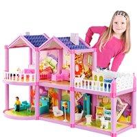 2020 новый DIY кукольный дом для кукла принцесса кукла домики вилла замок с мебелью симуляторы мечта девушка игрушечный дом для детей подарок LJ201126