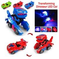 3D Transformando el juguete del dinosaurio LED del coche con el sonido ligero para los niños del juguete de la Navidad del regalo del juguete del dinosaurio del cochero para los niños 201124