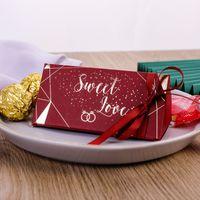 حفلات الزفاف الحلوى مربع مثلثات الشوكولاتة هدية التعبئة صناديق الذهب مطلي الهدايا التفاف الحرير الشريط جديد 0 37cy m2