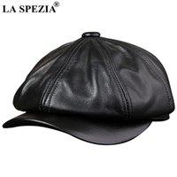 Sboy chapéus la spezia preto para homens genuíno cowskin couro couro octogonal masculino outono inverno montado vintage beret beret