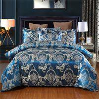 Satin jacquard sängkläder sätter lyxig solid europeisk stil 3 stycken duvet täcker pillowcases för oss full drottning kung säng storlek