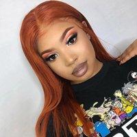 Средняя часть кружева передних париков оранжевый имбирь бразильский шелк прямые волосы парик без глееных волос MY MY парики человеческих волос 150% для черных женщин