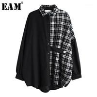Kadın Bluz Gömlek [EAM] Kadın Tweed Ekose Bölünmüş Büyük Boy Bluz Yaka Uzun Kollu Gevşek Fit Gömlek Moda Gelgit İlkbahar Sonbahar 2021 19A