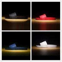 Kutu ile Sıcak Marka Erkekler Plaj Slayt Sandalet Scuffs 2018 Terlik Mens Plaj Moda Slip-On Tasarımcı Sandalet ABD 7-12