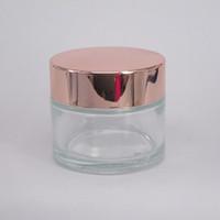 Hilling 15G 30G 50G Crema di vetro trasparente Barattolo di crema del viso con coperchio in oro rosa in alluminio Coperchio cosmetico Body Scrub Jar Contenitore del contenitore