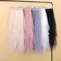 Women irregular Tulle Skirts Fashion Elastic High Waist Mesh Tutu Skirt Pleated Long Skirts Midi Skirt Saias Faldas Jupe Femmle1