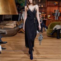 2021 Sommer Runway Dress Flora Print Sleeveless Empire Polyester Luxus Prom Kleid Spaghetti Strap Oushaali