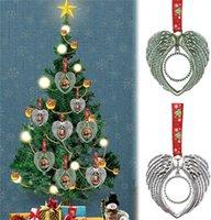 Sublimazione Ornamento di Natale Ornamento Decorazioni Angelo Ali Forma Blank Blank Transfer Transfer di stampa Consumables Forniture Nuovo stile all'ingrosso T889