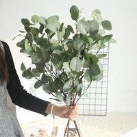 الحرير الاصطناعي ورقة الأوكالبتوس الأخضر أوراق الزفاف الديكور diy اكليلا هدية سكرابوكينغ الحرفية أبل النباتات وهمية زهرة