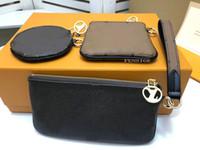 M68756 트리오 파우치 여성 캔버스 진짜 소 가죽 가죽 3 세 가지 다른 파우치 미니 서클 지퍼 팔찌 클러치 지갑 지갑 가방