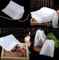 100pcs / Pack Teabags 5,5 x 7cm Sacs à thé parfumés vides avec ficelle Citry Sceller Filter Papier Filtre pour Herb Loose Tea Eea2189