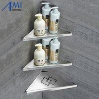 Amibronze 304 de acero inoxidable estantes de baño de doble triple triple triángulo estantería de esquina lavadora de champú cocina1