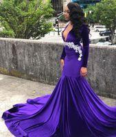 Стильные фиолетовые бархатные русалки выпускные платья выпускного выпускного выпускного выпускного вечера Deep V-шеи с длинными рукавами с длинными рукавами с длинными рукавами Plus Plus Размер поезда.