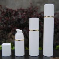 Lagerflaschen Gläser PP 15ml 30ml 50ml Airless Flasche Weiß Klare Farbpumpe für Lotion BB Creme-Vakuum + Gold # 123