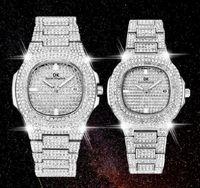 Moda Mens Donne Diamond Wathes Iced Out Square Designer Designer Movimento al quarzo Uomini e signora orologio in acciaio inox