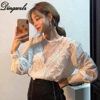 Camicette da donna Camicie Dingaozlz Top femminili Abbigliamento moda coreano Abbigliamento moda Elegante Ufficio Bianco Lady Blusa Patchwork Donne Camicia in pizzo