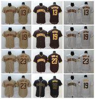 새로운 야구 13 매니 Machado 저지 남자 23 페르난도 Tatis JR 19 Tony Gwynn 모든 스티치 브라운 블랙 화이트 FlexBase 남자 냉각베이스 품질