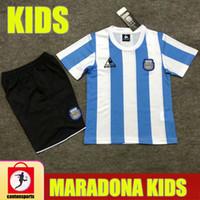 أطفال الرجعية 1986 الأرجنتين دييغو مارادونا لكرة القدم الفانيلة 2020 2021 الاحتفال Camiseta Boca Juniors 20 21 Youth Boys Football Shirts