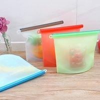 1000ml reutilizável saco de armazenamento de silicone vácuo selado preservação de alimentos saco selado colapsible portátil de armazenamento de geladeira