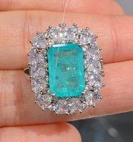925 Стерлингов Shipei Silver Silver Paraiba Tourmaline Creeped Moissanite Diamonds Кольца драгоценного камня / подвеска / Ожерелье Свадебные Ювелирные Изделия CXD0
