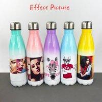 DIY sublimação 17oz cola garrafa com cor gradiente 500ml aço inoxidável cola em forma de garrafas de água dupla frascos isolados PPD167