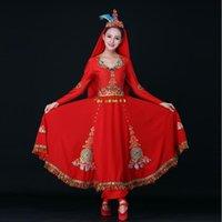 Costume mongolo della danza del cinese Xinjiang Costume da donna Costume per la performance della minoranza etnica di Uygur Vestito da stage di nazionalità HUI