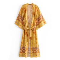 Mode floral gedruckt kimono blusen shirt frauen dame split kimono japanisch lang gardigan sommer böhmischen strand gürtel schärpen lässig blusen