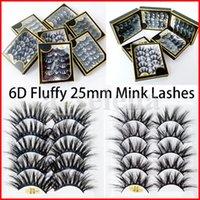25mm 6D Faux Mink Lashes 5 paires Boîte De Faux Cils De Faux Epais Long Terréo Stéréo Fluffy Fake Eye Lashes Maquillage Eaux de cils Kit Extensions Eyelash