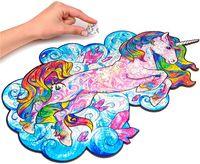 Оптово-деревянные головоломки для головоломки Уникальная форма Jigsaw Pieces Лучший подарок для взрослых и детей, вдохновляющих Unicorn Puzzles 101 шт.