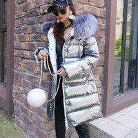 Cappotto da donna Maomaokong Donne Cappotto in argento Shiny Parka Cappotto Real Raccoon Collare di pelliccia lungo Cappotto invernale LJ201127