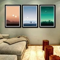 3 Panels Classic Movie Poster and Prints Sunset Landscape Ca...