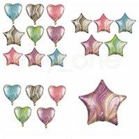 18 pouces Agate étoile à cinq branches de 18 pouces ballon en forme de coeur ronde étoile à cinq branches en feuille d'aluminium Ballons Décoration anniversaire Boule RRA3831