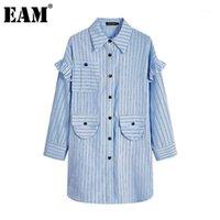 [Eam] Femmes Blue Blue Split Big Taille Chemisier Nouveau revers manches longues à manches longues en forme de chemise Mode Spring Automne 2020 1Z3761