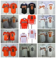 Retro Men 1954 1970 1982 1989 2001 Vintage 8 cal Ripken JR Baseball Jersey FlexBase Retirne Cool Base Team Schwarz Orange Weiß Grau Pullover