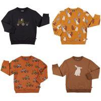 2020 Neue Herbst Kinder Pullover für Jungen Mädchen Nette Auto Kaninchen Print Sweatshirts Baby Kind Baumwolle Outwear Kleidung Tops Carlijnq LJ201012