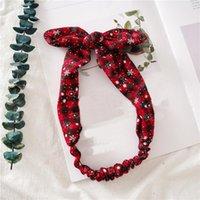 1pc Sweet Red Plaid Rabbit Ear Headband For Women Elastic Bow Hairband Christmas Headwear Turban Headbands Hair Accessories 2020 Q bbyYgt