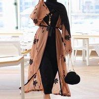 Şifon Dubai Abaya Kimono İslam Müslüman Hicap Elbise Abayas Kadınlar için Kaftan Kaftan Marocain Türk İslam Giyim Robe Ceket