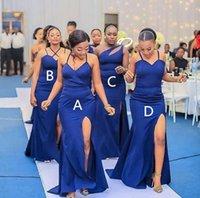 Vestidos de dama de honor largos de larga dama lateral de alto lado DIERNO Estilo de escote criada de honor Vestidos de novia con cremallera trasero vestido de fiesta de boda