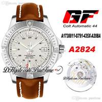 GF COLT A1738811-G791-435X-A20BA ETA A2824 Otomatik Erkek İzle Beyaz Dokulu Dial 44 Safir Kahverengi Deri En Iyi Baskı Ptbl Puretime 3C