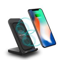 10W Schnelles kabelloses Ladegerät mit Fan für iPhone12 x x x 8Plus Qi Induktion Ladedock-Fan-USB-Ladegerät für Samsung