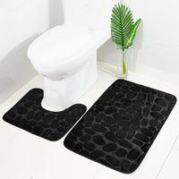 Tapetes de banho 2 pcs funil lã casa de banho de espuma de espuma de espuma kit toalete antiderrapante piso tapete conjunto colchão para decoração 50x80cm