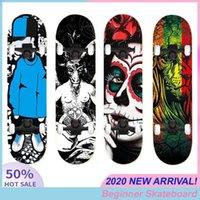 Hip-Hop Adultos Crianças Dupla Rocker Skate Iniciante 80 * 20cm Skate Skate Crânio Impressão Natural Maple Wood Quatro rodas1