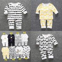 Дети Autum Winter Pajamas наборы дети мальчик девочек малышей домашняя одежда с длинным рукавом две части одежда хлопка футболки штаны наряды G12802