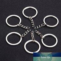 10 unids color plateado 30 mm llavero hombres hombres bricolaje llavero llavero accessoriesess keychain dividir anillo con cadena corta pulida