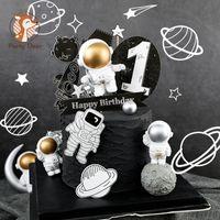 Другие праздничные партии поставки Glod Silver Moon космический корабль астронавт украшения ракета выпечки с днем рождения торт топпер свадебный детский душ