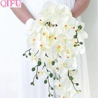QIFU искусственные цветы для свадебных цветов украшения бабочки орхидеи шелковые цветы букет фаленопсис филиалы поддельные