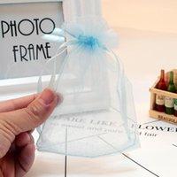 Bolsas de jóias, bolsas 100 pçs / lote 5 * 7cm luz azul organza malotas de casamento acessórios acessórios exposição de embalagem bom saco de presente1