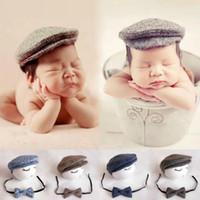 Милый младенческий новорожденный девочка мальчик пикированные шапки шапка шляпа + галстук-бабочка фото фотография Prup Outfit 2 шт. Установите новый 0-1 м